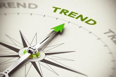 Kompass zeigt auf Trend