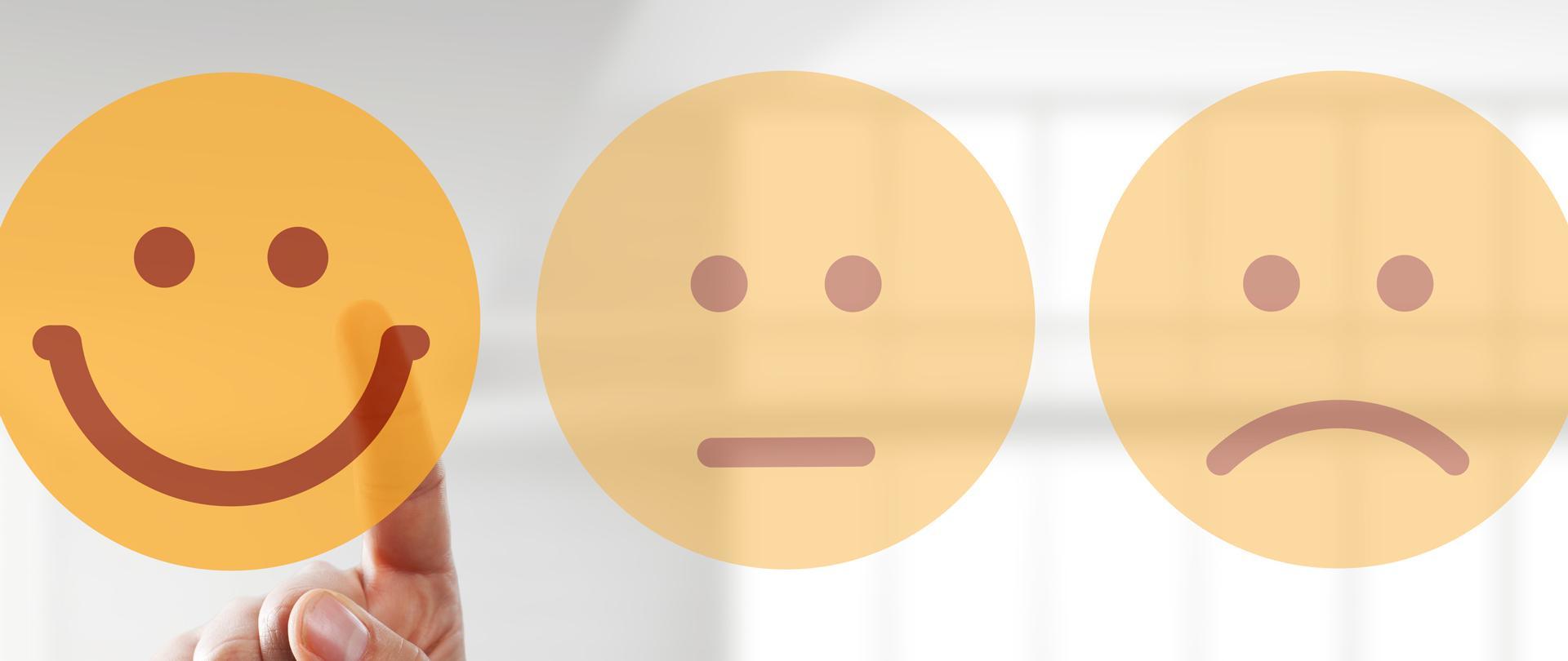 Drei Smileys zum auswählen.