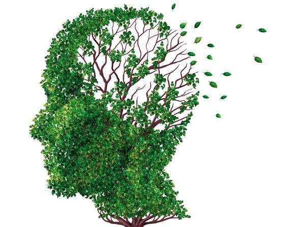 Baum als Kopf dargestellt verliert Blätter